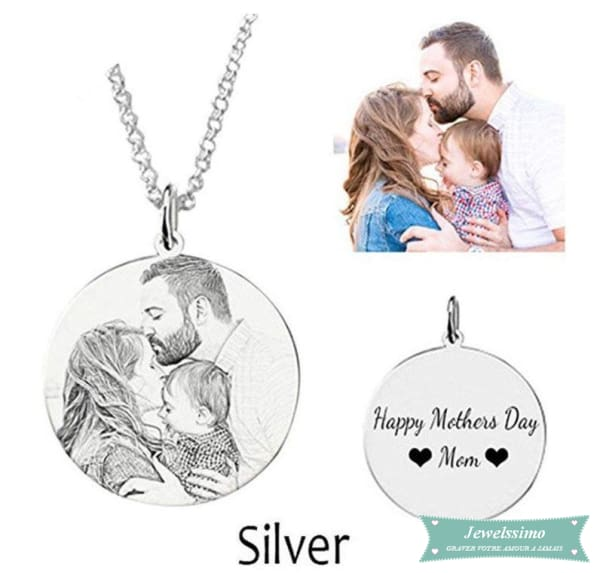 Collier photo Happy gravé pendentif photo