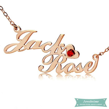 Collier Prénom Couple Style Carrie En Or Rose 35Cm Carrie
