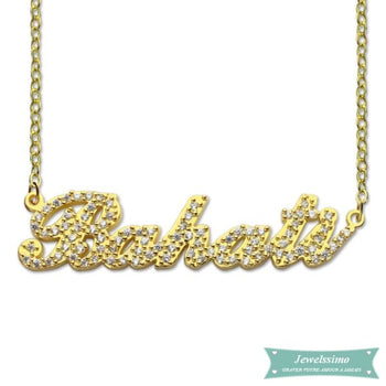 Collier Prénom Style Carrie Diamant Serti En Plaqué Or 35Cm Carrie