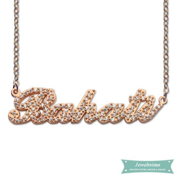 Collier Prénom Style Carrie Diamant Serti En Plaqué Or Rose Carrie
