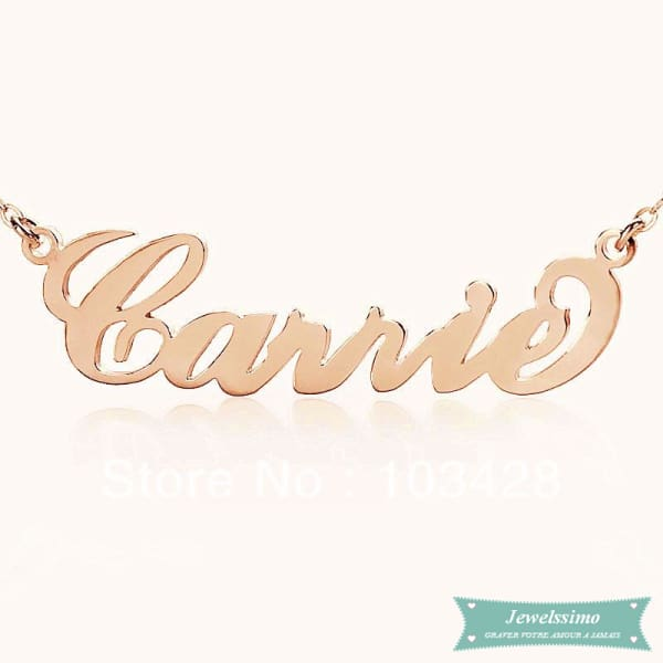 Collier Prénom Style Carrie En Plaqué Or Rose 35Cm Carrie
