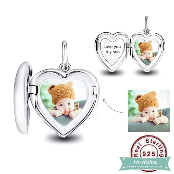 Médaillon photo Coeur sage personnalisable 35cm pendentif photo