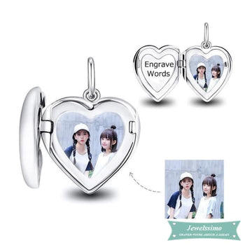 Médaillon photo Coeur sage personnalisable pendentif photo