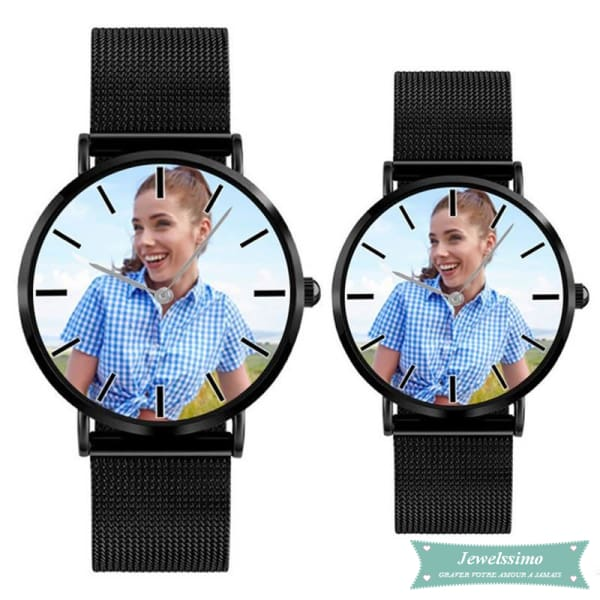 Montre photo personnalisable Lovers pour femme Noir montre quartz