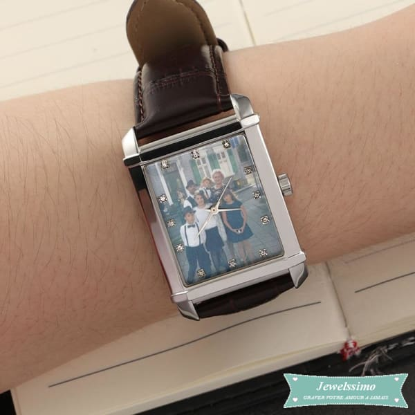 Montre photo personnalisable Souvenir Noir montre quartz