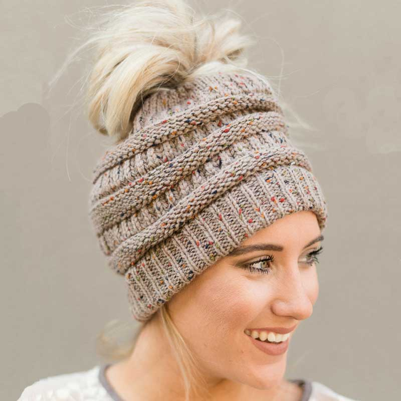 Ponytail Beanie Hat Women Crochet Knit Winter Cap