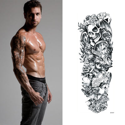 Hot Temporary Tattoo Sleeve with Skulls - June and Jade