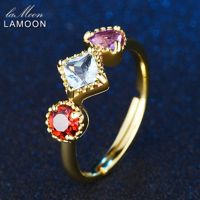 Purple Amethyst Red Garnet Blue Topaz Ring with 925 Sterling Silver - June and Jade