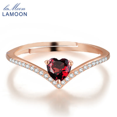 Classy Natural Heart Cut Red Garnet Ring, 925 Sterling Silver - June and Jade