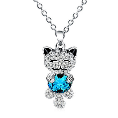Cutest Rhinestone Cat Necklace - June and Jade