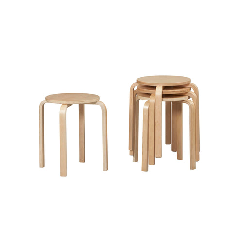 "17"" Bentwood Stool - Natural Set Of 4"