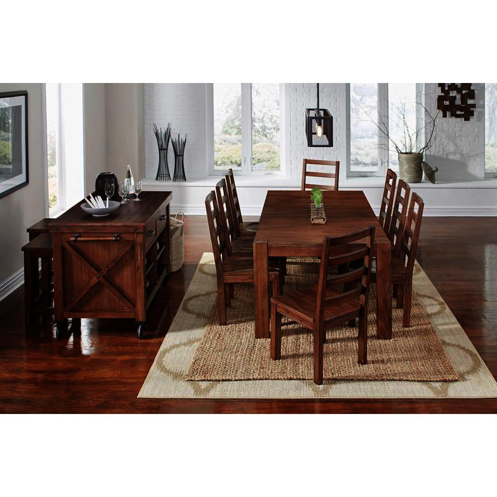A America Anacortes 12 Piece Butterfly Leaf Leg Dining Room Set In Salvage Mahogany