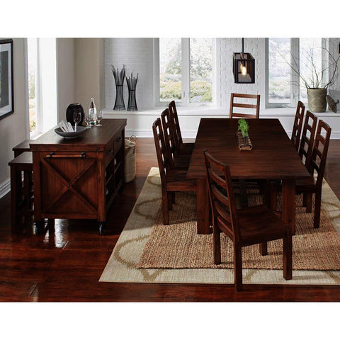 A-America Anacortes 12 Piece Trestle Dining Room Set in Salvage Mahogany
