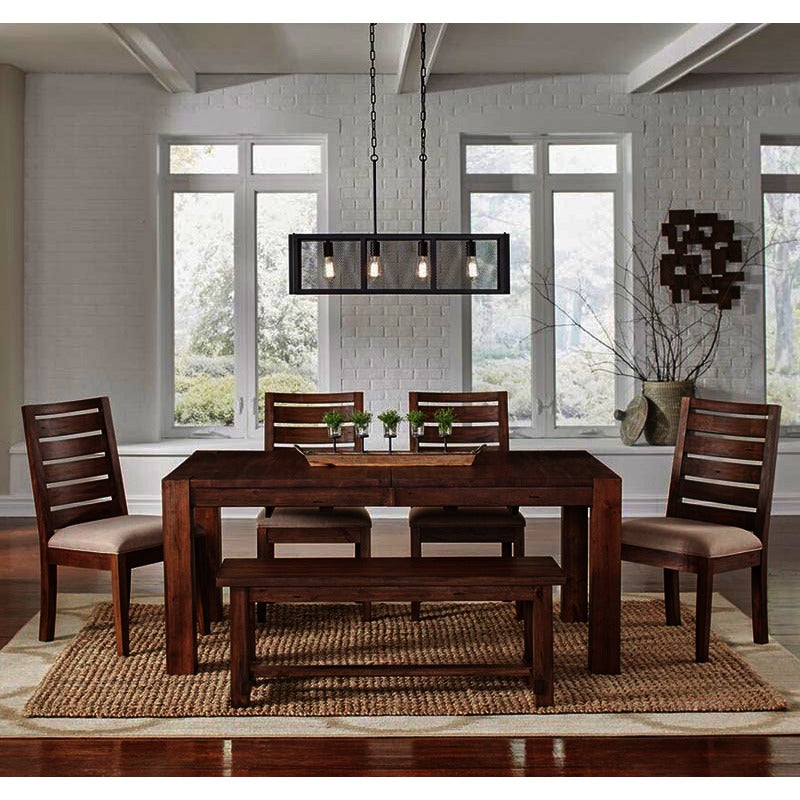 A America Anacortes 6 Piece Butterfly Leaf Leg Dining Room Set In Salvage Mahogany