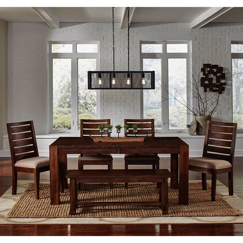 A-America Anacortes 6 Piece Butterfly Leaf Leg Dining Room Set in Salvage Mahogany