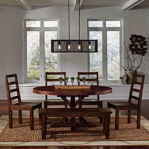 A-America Anacortes 6 Piece Oval Pedestal Dining Room Set in Salvage Mahogany