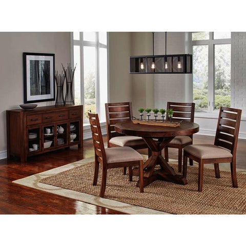 A-America Anacortes 6 Piece Oval Pedestal Dining Room Set w/Upholstered Chairs in Salvage Mahogany