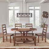 A-America Anacortes 62 Inch Extension Oval Pedestal Dining Table in Salvage Mahogany
