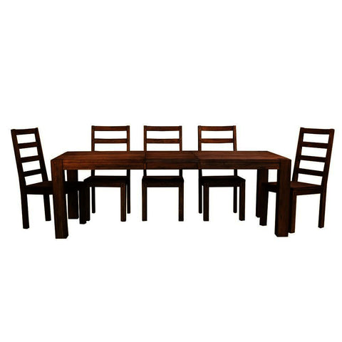 A-America Anacortes 7 Piece Butterfly Leaf Leg Dining Room Set in Salvage Mahogany