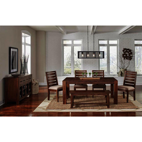 A-America Anacortes 7 Piece Butterfly Leaf Leg Dining Room Set w/Server in Salvage Mahogany