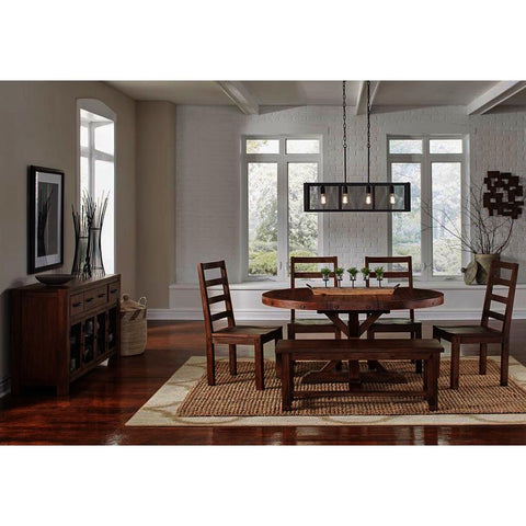 A-America Anacortes 7 Piece Oval Pedestal Dining Room Set in Salvage Mahogany