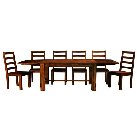 A-America Anacortes 7 Piece Trestle Dining Room Set in Salvage Mahogany