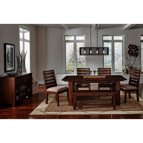 A-America Anacortes 7 Piece Trestle Dining Room Set w/Server in Salvage Mahogany