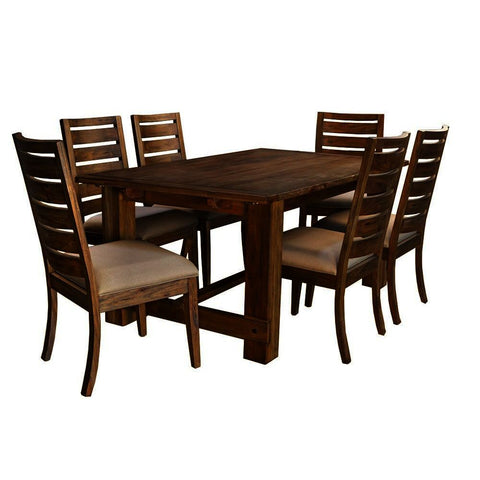 A-America Anacortes 7 Piece Trestle Dining Room Set w/Upholstered Chairs in Salvage Mahogany