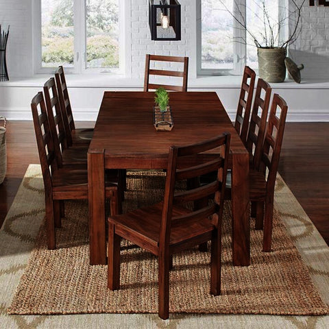 A-America Anacortes 9 Piece Butterfly Leaf Leg Dining Room Set in Salvage Mahogany
