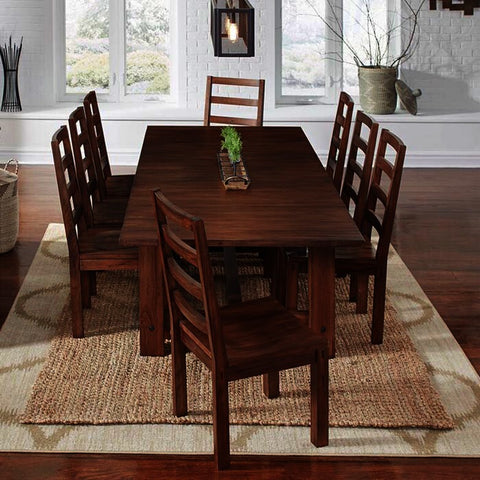 A-America Anacortes 9 Piece Trestle Dining Room Set in Salvage Mahogany