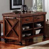 A-America Anacortes 3 Piece Kitchen Island w/Counter Stools in Salvage Mahogany