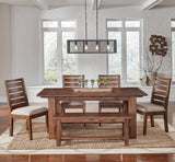 A-America Anacortes 5 Piece Oval Pedestal Dining Room Set in Salvage Mahogany