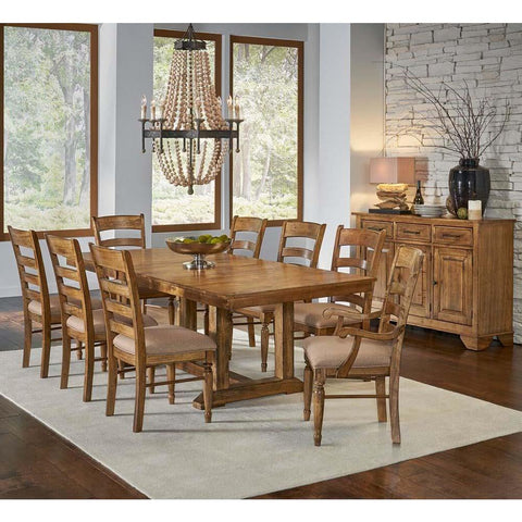 A-America Bennett 10 Piece Trestle Dining Room Set w/Upholstered Chairs in Smoky Quartz
