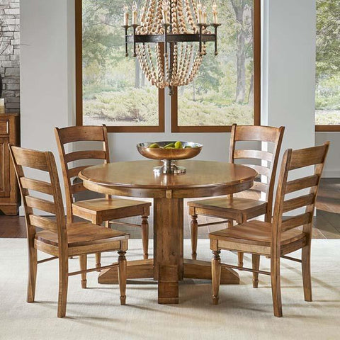 A-America Bennett 5 Piece Pedestal Dining Room Set in Smoky Quartz