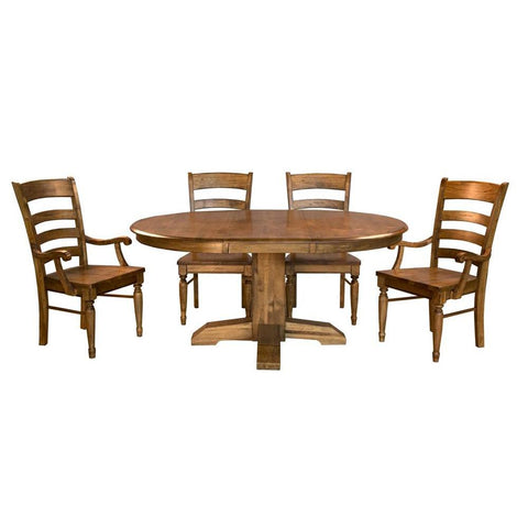 A-America Bennett 5 Piece Pedestal Dining Room Set w/Arm Chairs in Smoky Quartz