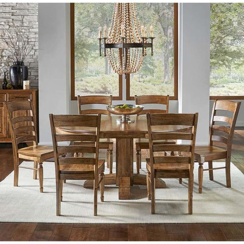 A-America Bennett 7 Piece Pedestal Dining Room Set in Smoky Quartz