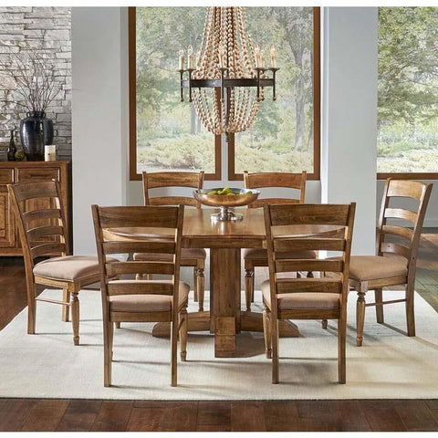 A-America Bennett 7 Piece Pedestal Dining Room Set w/Upholstered Chairs in Smoky Quartz