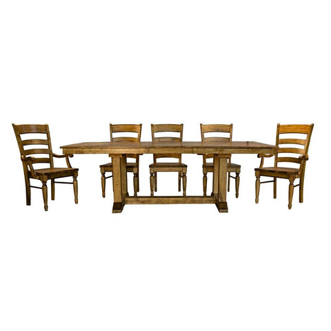 A-America Bennett 7 Piece Trestle Dining Room Set in Smoky Quartz
