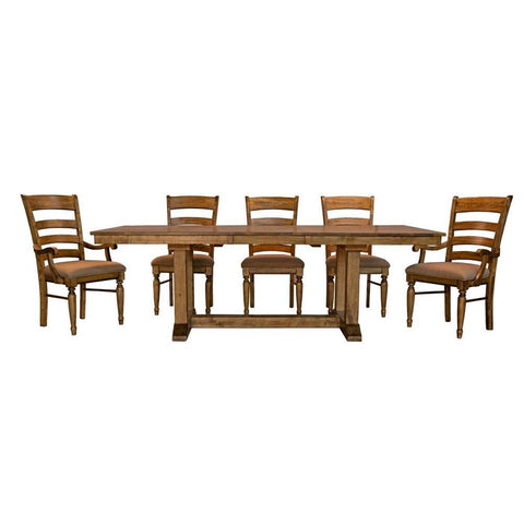 A-America Bennett 7 Piece Trestle Dining Room Set w/Upholstered Chairs in Smoky Quartz