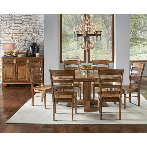 A-America Bennett 8 Piece Pedestal Dining Room Set in Smoky Quartz