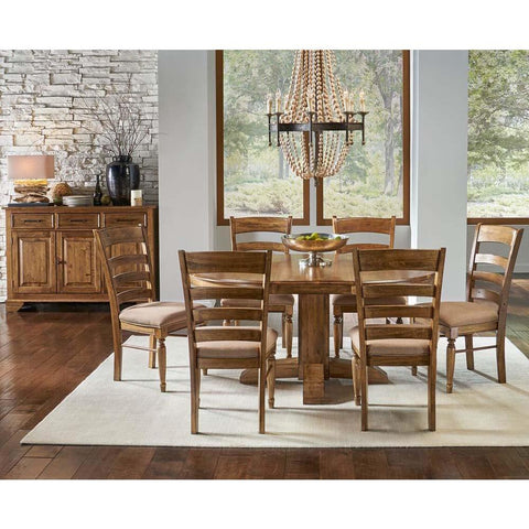 A-America Bennett 8 Piece Pedestal Dining Room Set w/Upholstered Chairs in Smoky Quartz