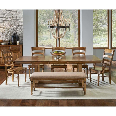 A-America Bennett 8 Piece Trestle Dining Room Set w/Bench in Smoky Quartz