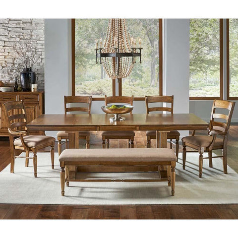 A-America Bennett 8 Piece Trestle Dining Room Set w/Upholstered Chairs & Bench in Smoky Quartz