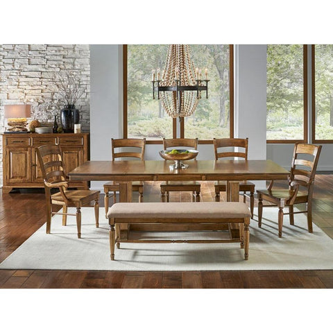 A-America Bennett 9 Piece Trestle Dining Room Set w/Bench in Smoky Quartz