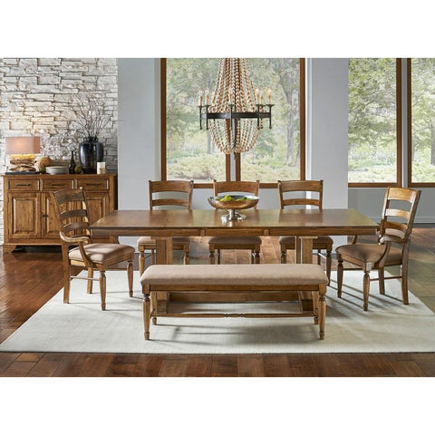 A-America Bennett 9 Piece Trestle Dining Room Set w/Upholstered Chairs & Bench in Smoky Quartz