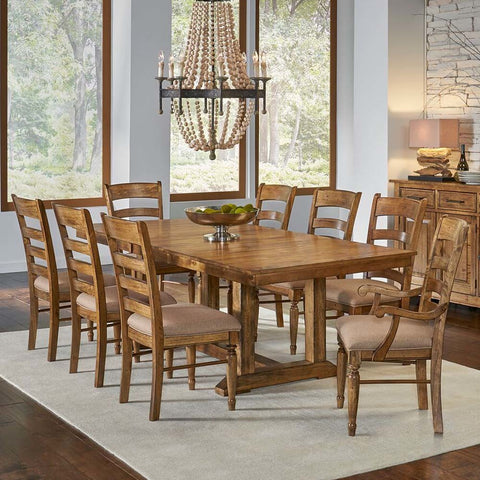 A-America Bennett 9 Piece Trestle Dining Room Set w/Upholstered Chairs in Smoky Quartz