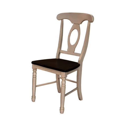 A-America British Isles Napoleon Side Chair in Chalk-Cocoa Bean
