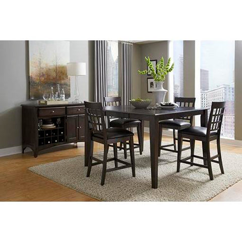 "A-America Bristol Point 54"" Square Gathering Height Table With 18"" Butterfly Leaf, Warm Grey Finish"