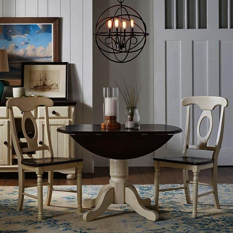 A-America British Isles 3 Piece Drop Leaf Dining Room Set in Chalk-Cocoa Bean