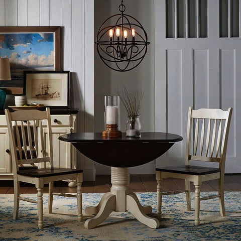 A-America British Isles 3 Piece Drop Leaf Dining Room Set w/Slat Chairs in Chalk-Cocoa Bean